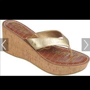 Sam Edelman  Romy Gold Wedge Sandal Sz 8 NWOB
